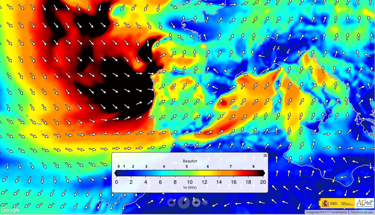 """Las boyas de Puertos del Estado registran récords de vientos asociados al temporal """"Ana"""""""